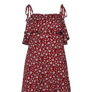 NWOT - Red Floral Sleeveless Ruffle Shift Dress